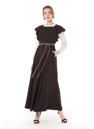 Vivencia Hasır Kemerli Siyah Jile Elbise Siyah